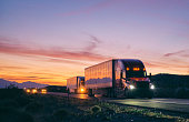 istock Long Haul Semi Truck On a Rural Western USA Interstate Highway 1212404028