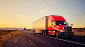 istock Long Haul Semi Truck On a Rural Western USA Interstate Highway 1279002518