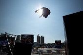 istock Long, high parkour jump 503208497