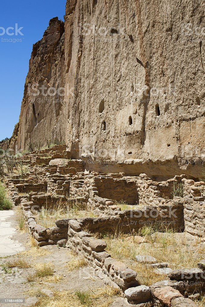 Long House Cliff Dwellings - Bandelier National Monument stock photo
