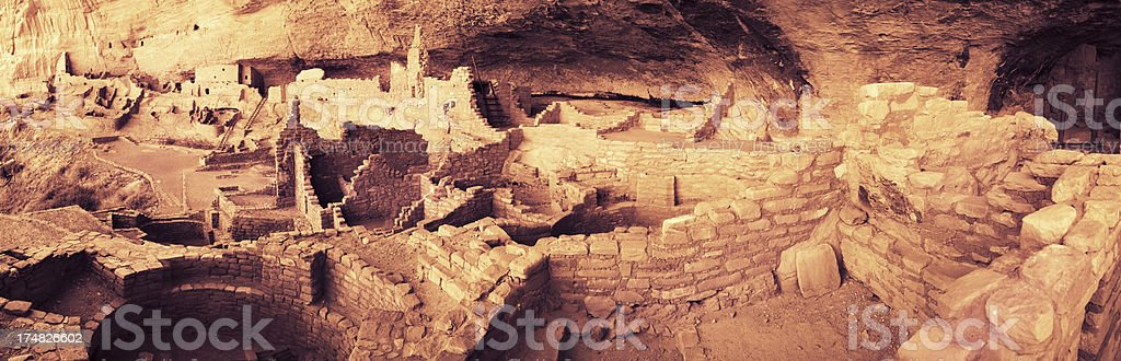Long House Ruins Panorama - Mesa Verde National Park, Colorado stock photo