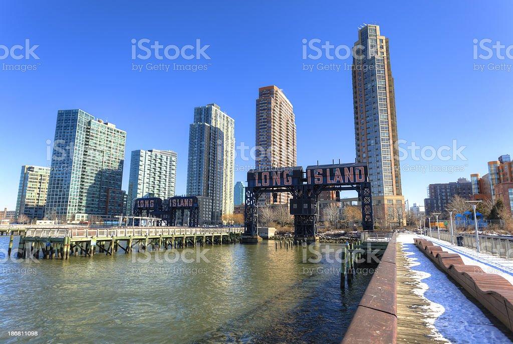 Long Island city gantry cranes, New York stock photo