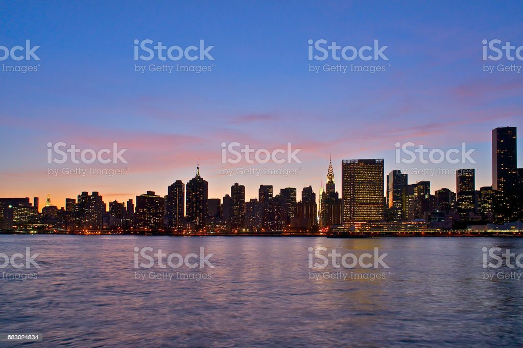 Long Island City skyline at dusk stock photo