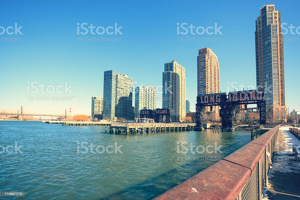 Long Island city with sign taken from pier stock photo