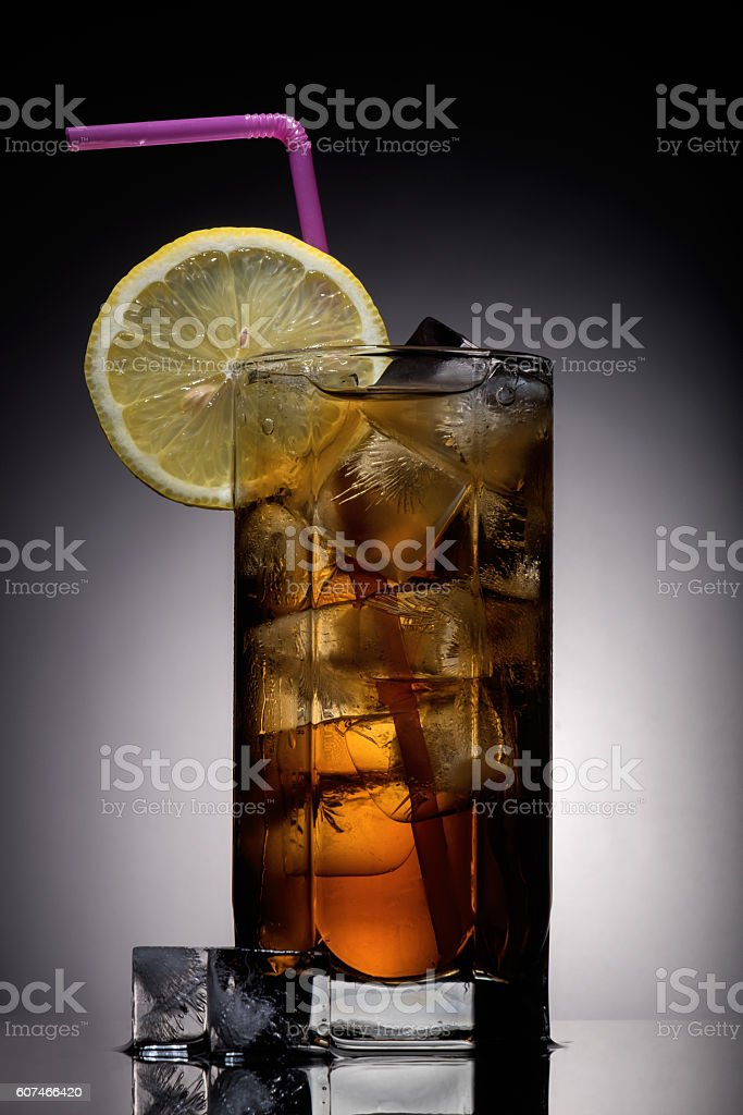 Long Island Cocktail on black stock photo