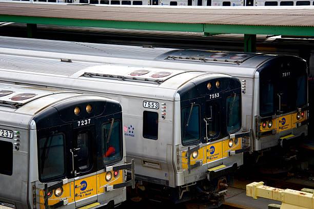 Long Island Railroad Passenger Trains parked, West Side Railroad Yard stock photo