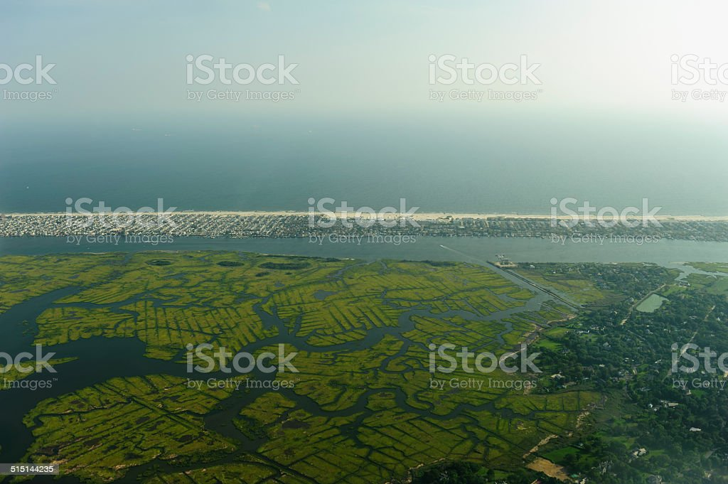 long island seen from the air stock photo