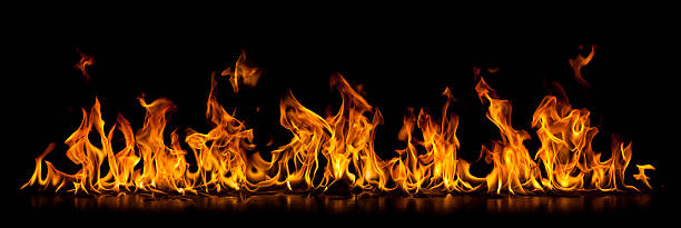 long isolated wall of burning fire flame - fire natural phenomenon stock photos and pictures