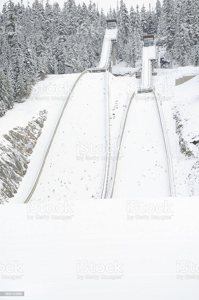 Long jump ski ramps near Whistler, Canada stock photo