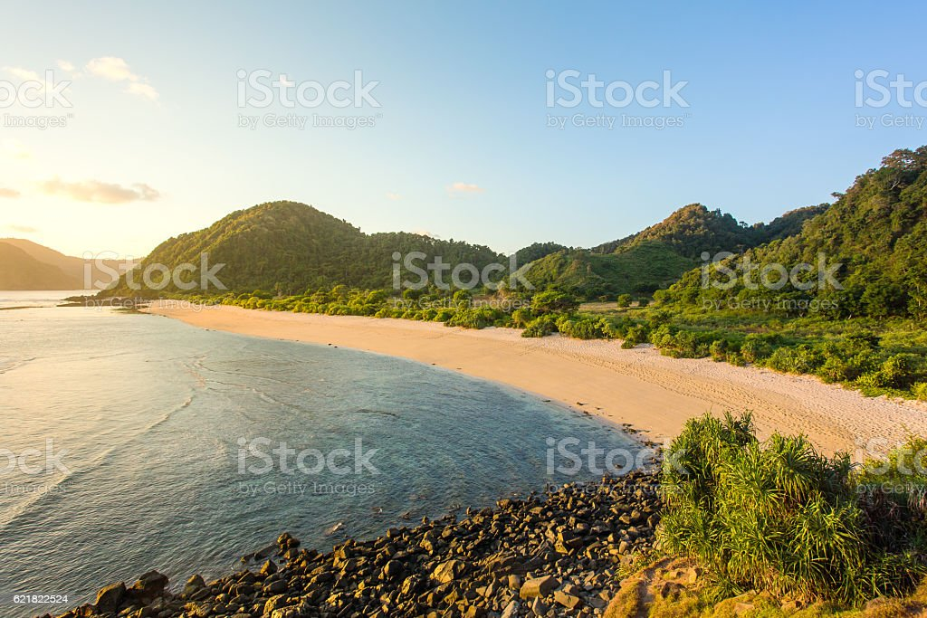 Long Kuta sand beach, Lombok, Indonesia stock photo