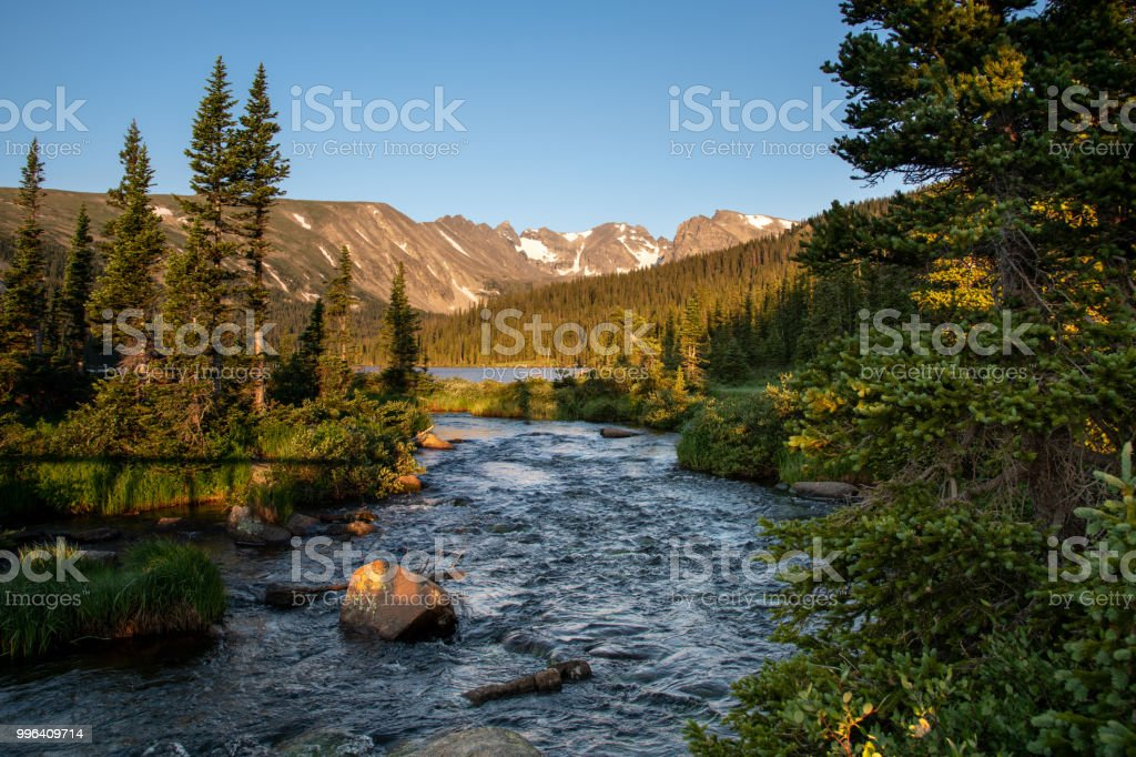 Long Lake in the Indian Peaks Wilderness Colorado stock photo