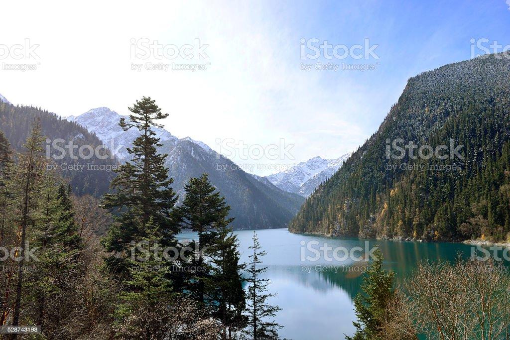 Long Lake, Jiuzhaigou stock photo