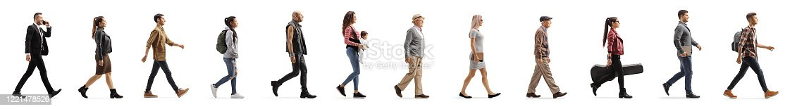 istock Long line of different profile people walking 1221478526