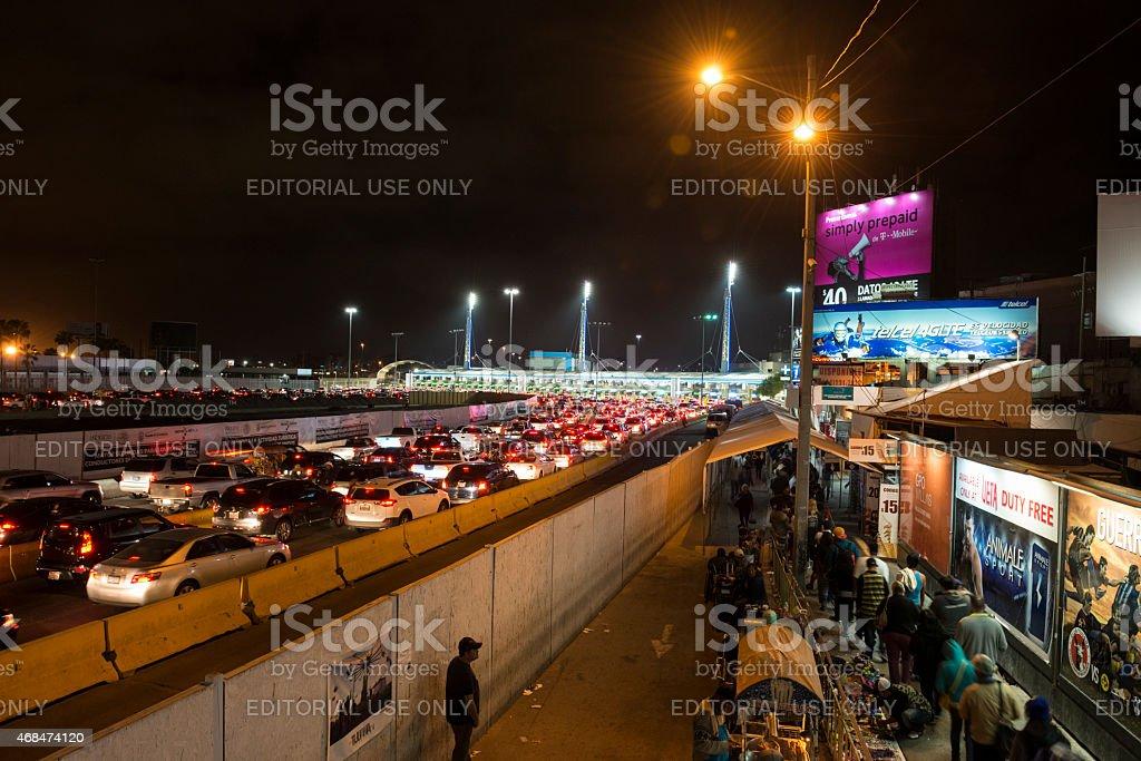 Long lines crossing the Mexican border at Tijuana/San Ysidro stock photo