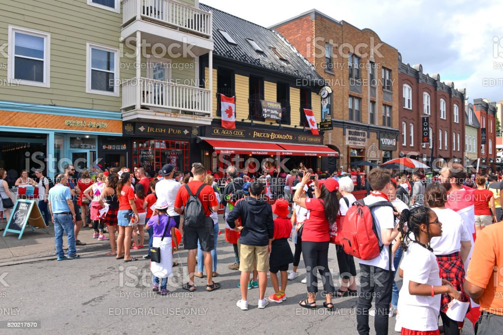 Long lineups on Canada Day in Ottawa stock photo