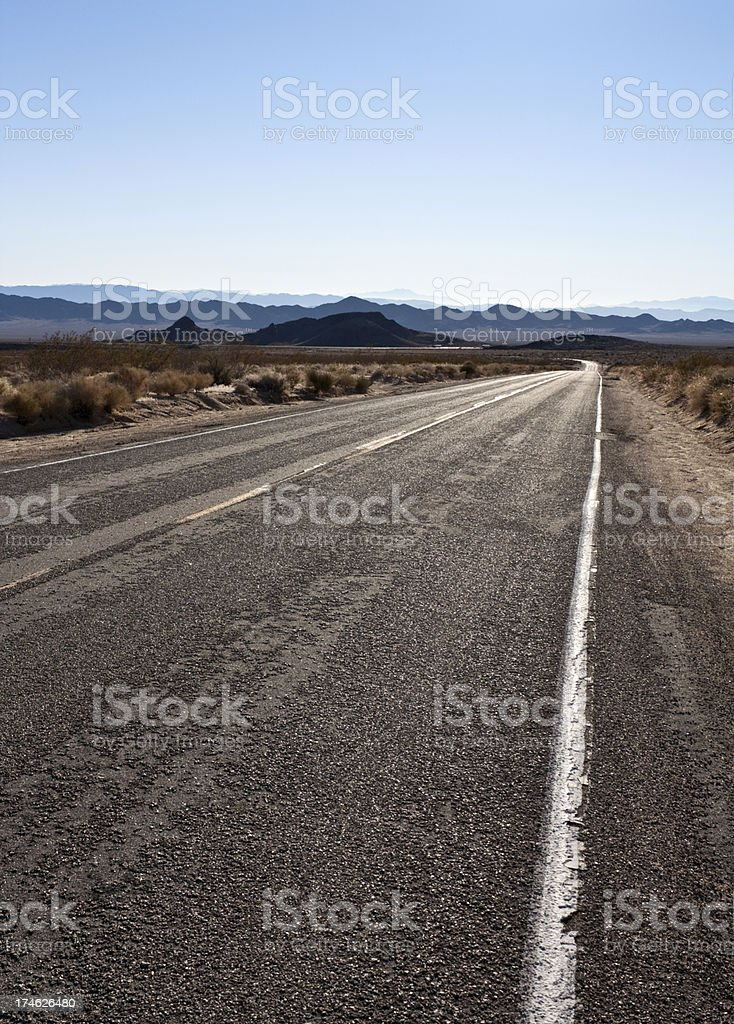 Long Lonely Highway, Mojave Desert, CA, USA royalty-free stock photo