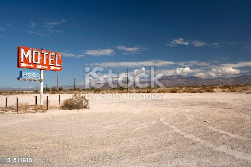 Old long forgotton motel sign along Route 66 in Arizona