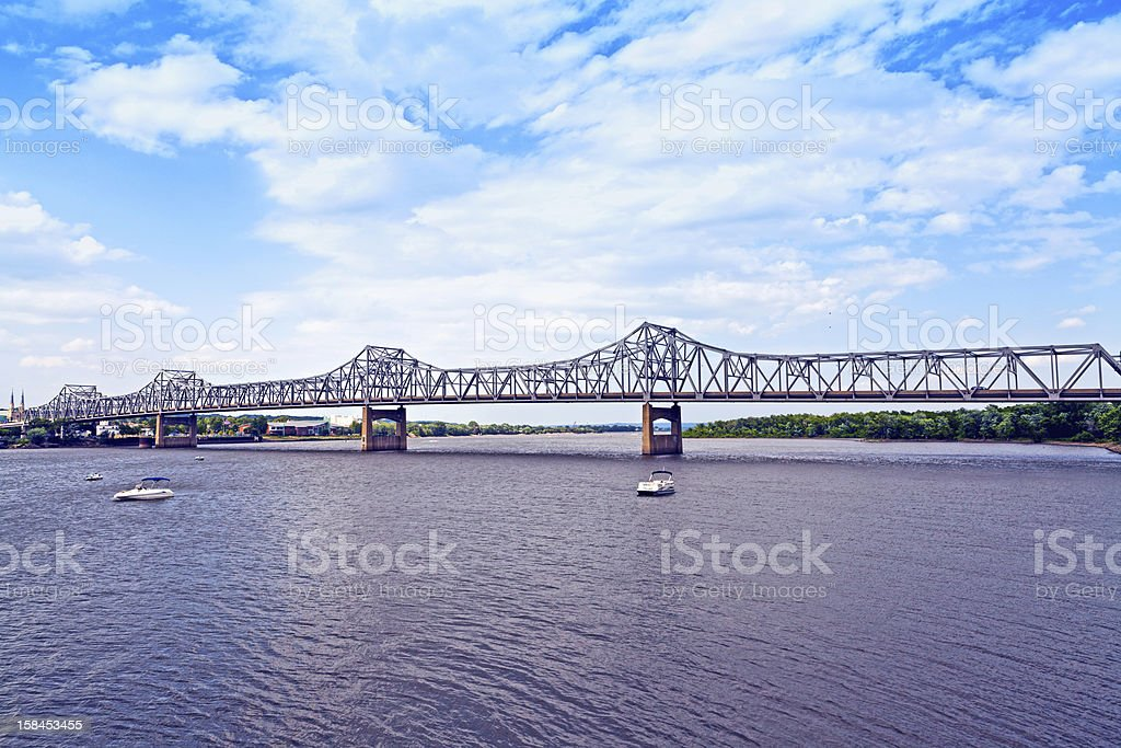 long metal bridge stock photo