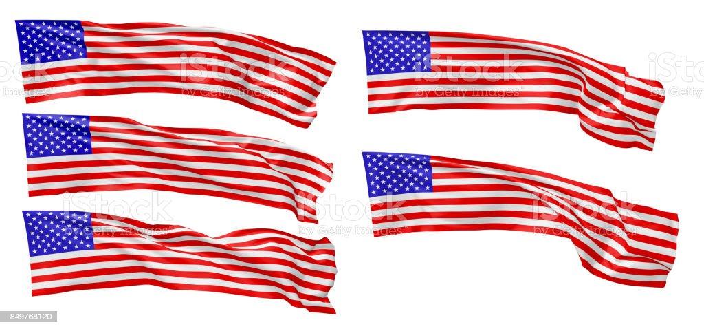 Long national flag of United States of America set stock photo