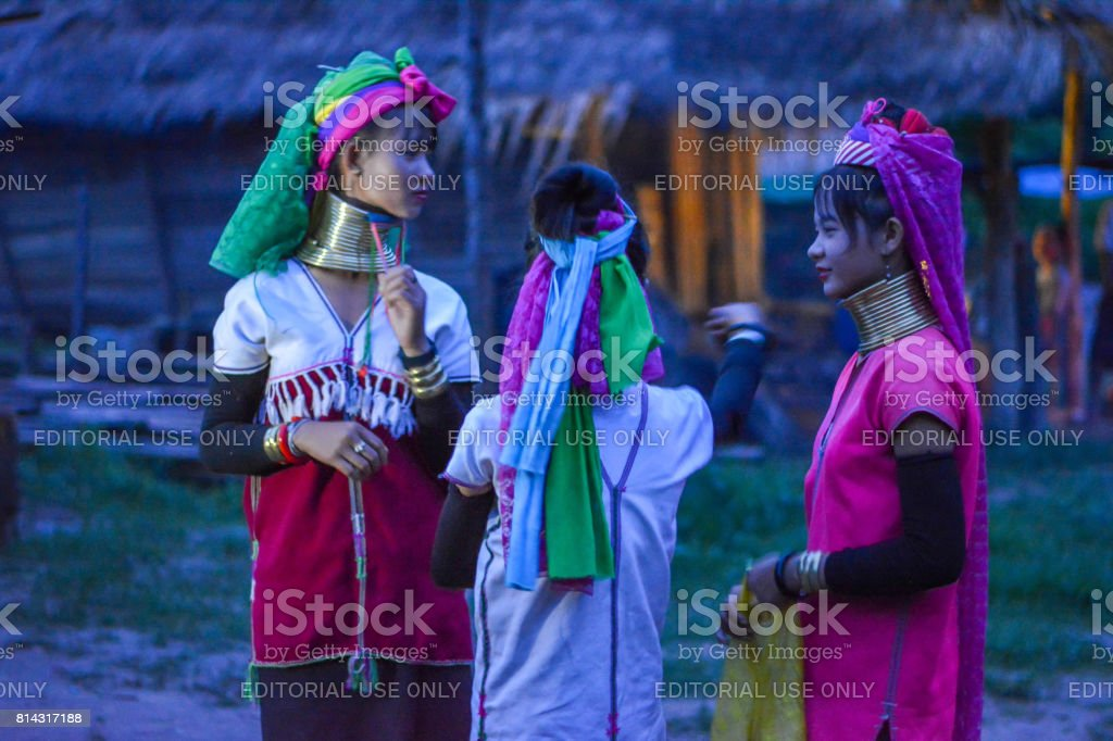 Long Neck Village in Thailand stock photo