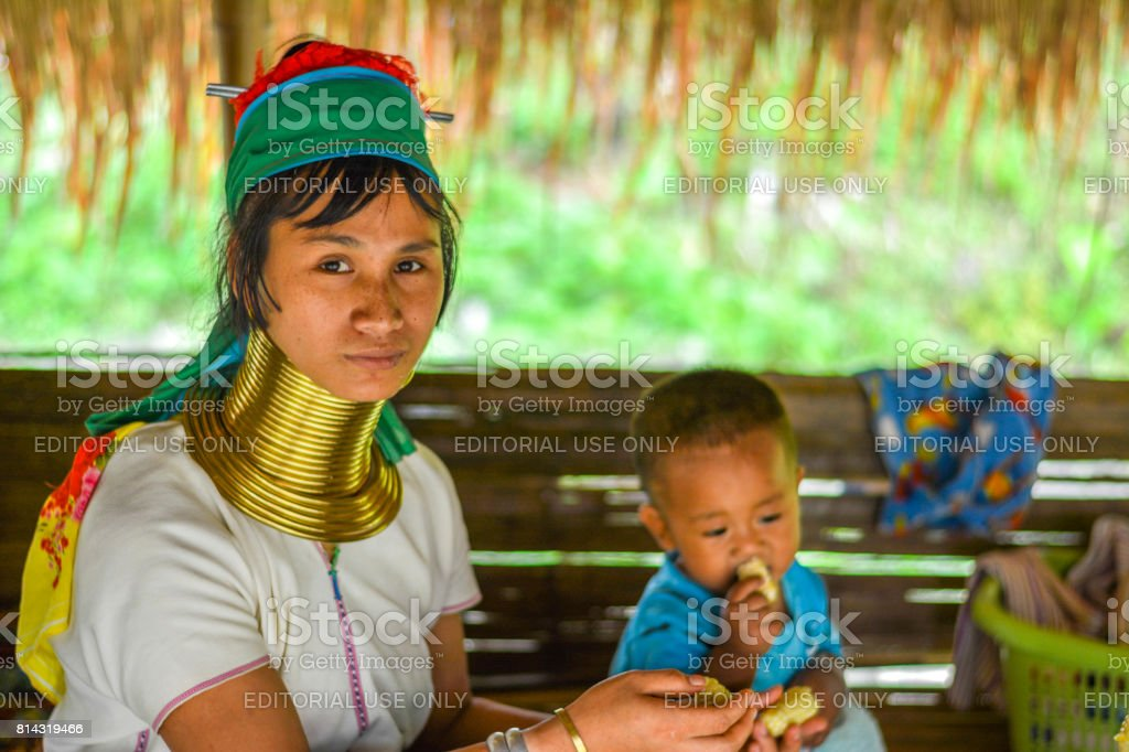 Long Neck Women in Thailand stock photo