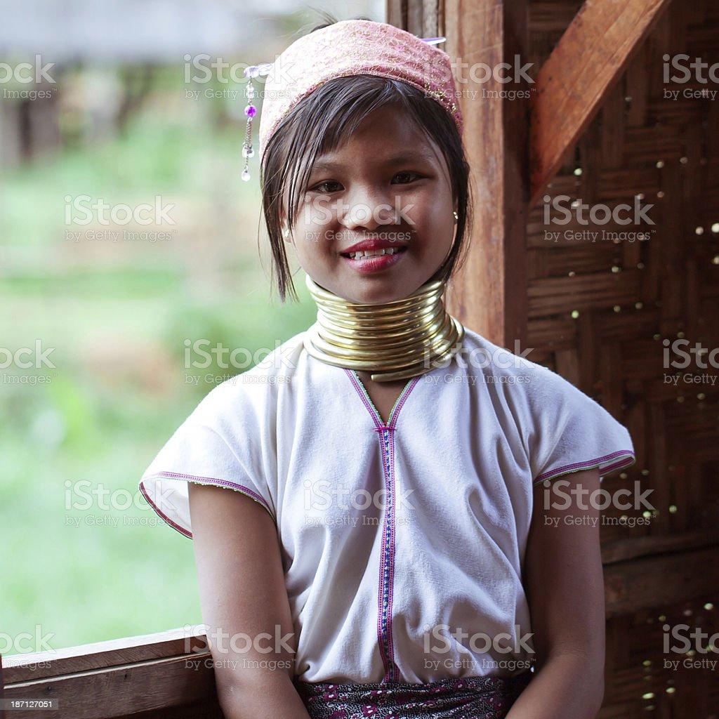 Long Necked Girl Stock Photo