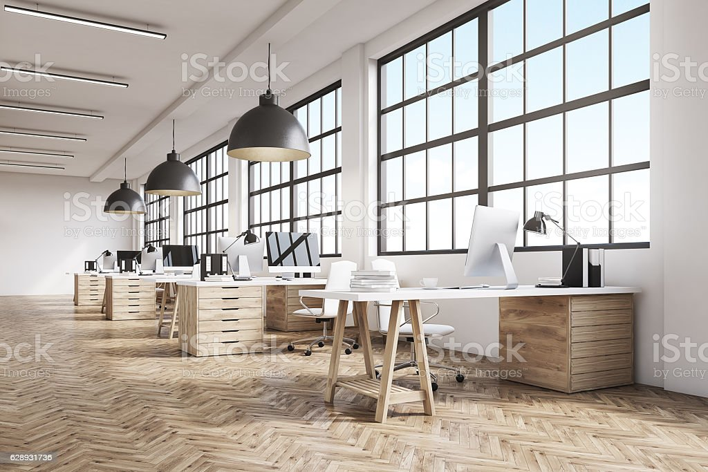 Long office with wooden floor stock photo