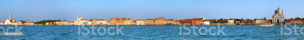 Long panoramic image of Guidecca island in Venice stock photo
