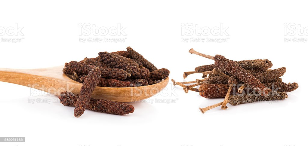 long pepper on white background stock photo