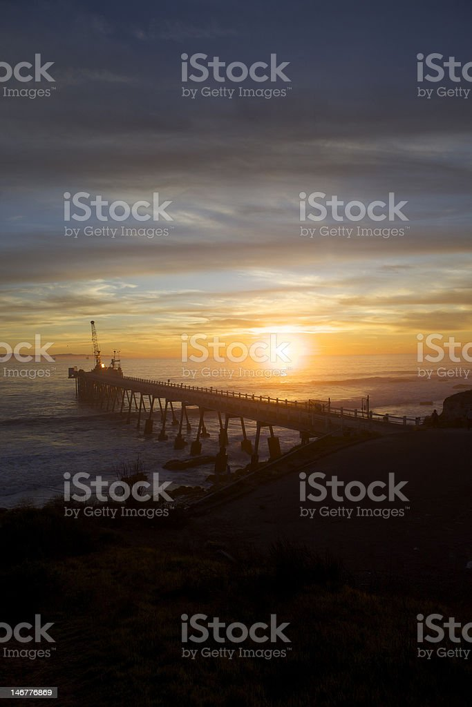 Long Pier at Sunset in California royalty-free stock photo