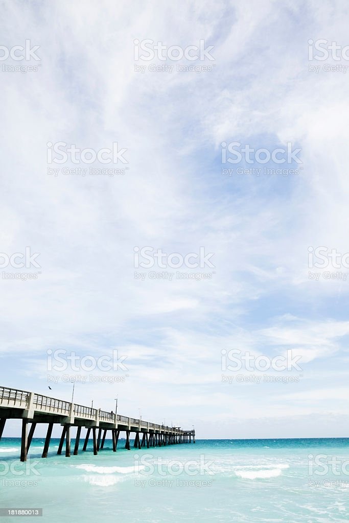 Long pier on Dania Beach in Fort Lauderdale, Miami, Florida royalty-free stock photo