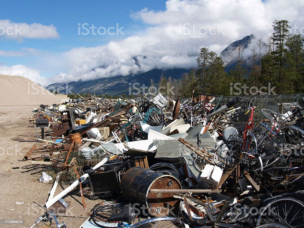Long Pile of Twisted Metal for Recycling royalty-free stock photo