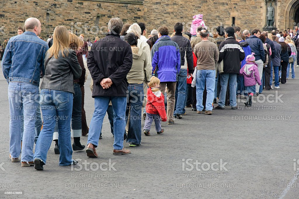 Long Queue of People stock photo