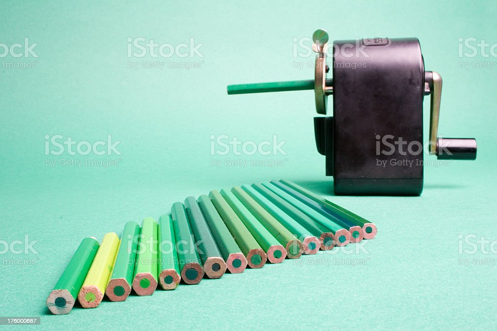 "Long queue still waiting ""Queue of green pencils waiting to get sharpened, the vintage way."" Antique Stock Photo"
