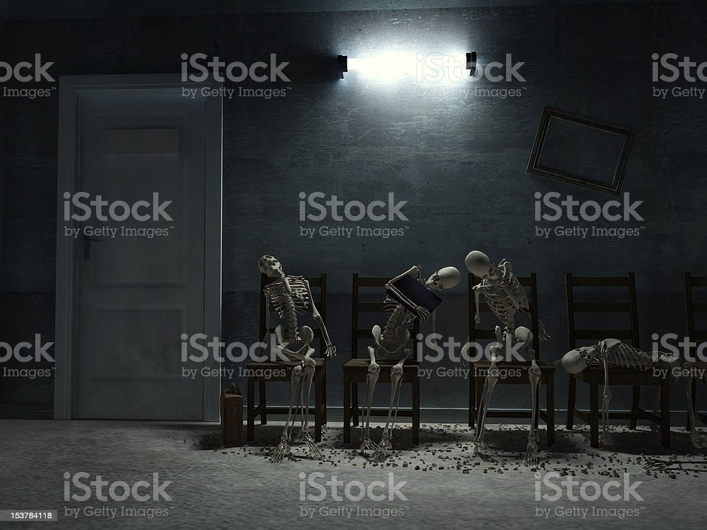 long queue to door royalty-free stock photo