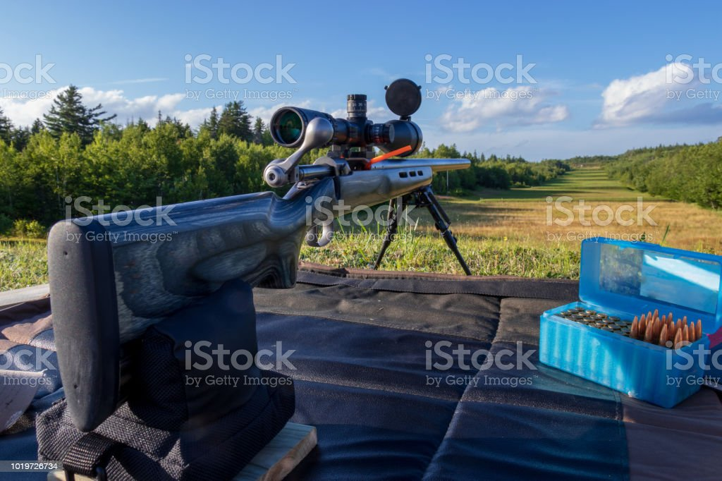 A long range rifle setup on the 800 meter firing line at Bull Meadow. stock photo