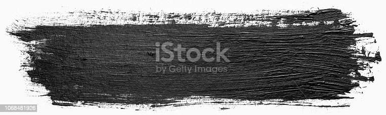 istock Long rectangular hand drawn isolated paintbrush stripe with dirty black color ink. Splatter Paint Texture. Distress rough background. Scratch, Grain, Noise rectangle stamp. Copy space for your text. 1068481926