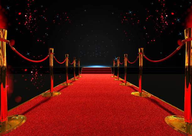 long red carpet between rope barriers with stair at the end - fame stock photos and pictures