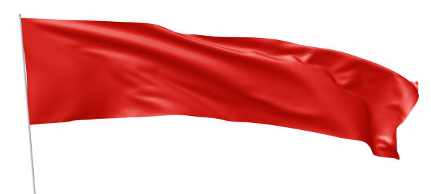 Long red flag with flagpole waving in wind stock photo