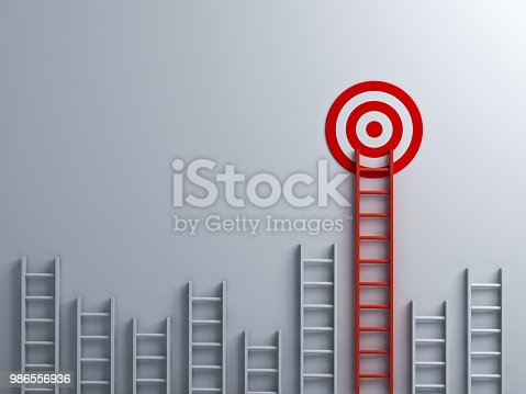 Long red ladder to goal target business concept . 3D rendering.
