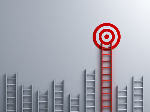 istock Long red ladder to goal target business concept 3D rendering 986556936
