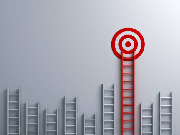 Long red ladder to goal target business concept 3D rendering Long red ladder to goal target business concept . 3D rendering. high up stock pictures, royalty-free photos & images