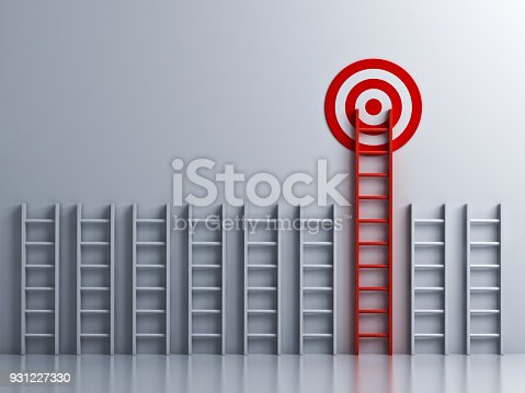 938669816 istock photo Long red ladder to goal target 931227330