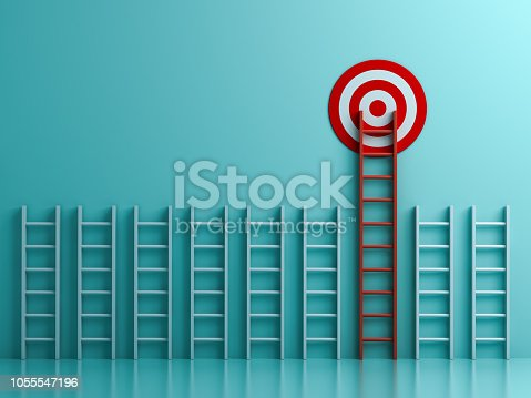 938669816 istock photo Long red ladder to goal target the business concept on blue pastel color background with shadows  3D rendering 1055547196
