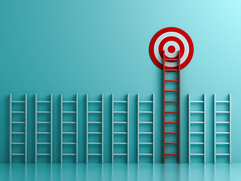istock Long red ladder to goal target the business concept on blue pastel color background with shadows  3D rendering 1055547196