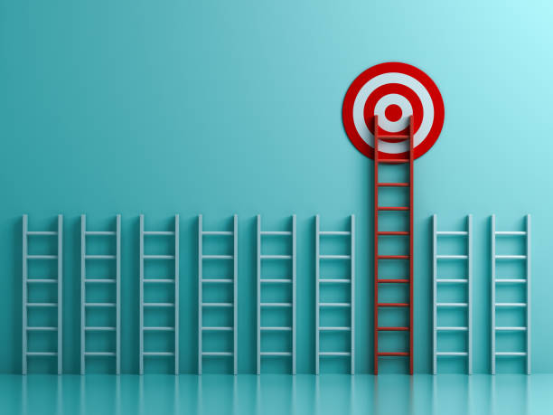 Long red ladder to goal target the business concept on blue pastel color background with shadows  3D rendering Long red ladder to goal target the business concept on blue pastel color background with shadows  3D rendering high up stock pictures, royalty-free photos & images