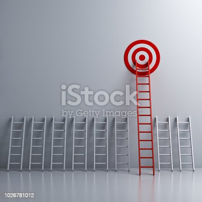 938669816 istock photo Long red ladder to goal target the business concepts 3D rendering 1026781012