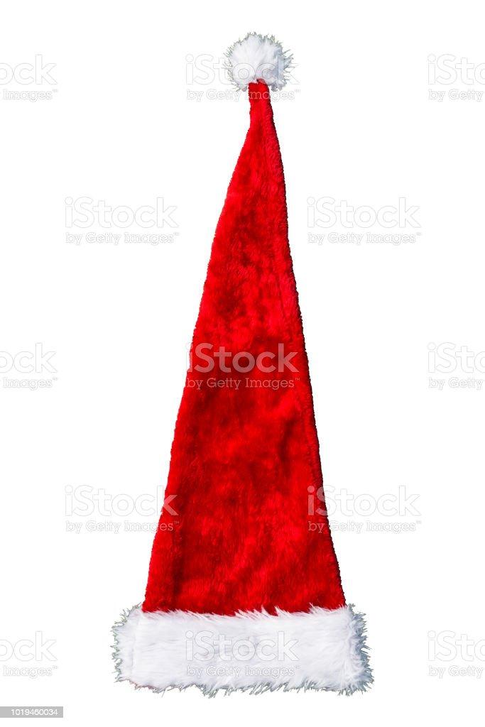 Eine lange, rote Weihnachtsmann Mütze isoliert auf einem weißen Hintergrund mit einem Beschneidungspfad. – Foto