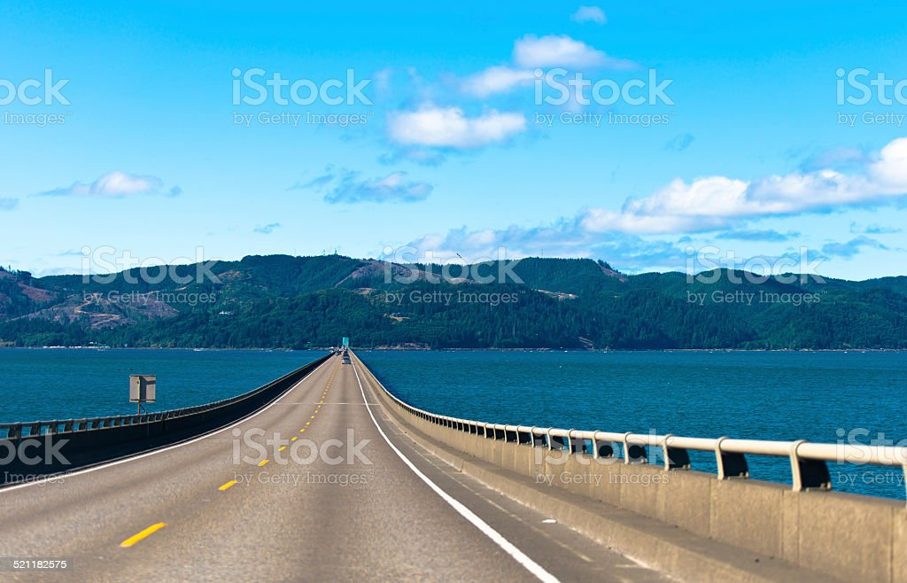 Long Road bridge over Columbia River in Astoria in Pacific stock photo