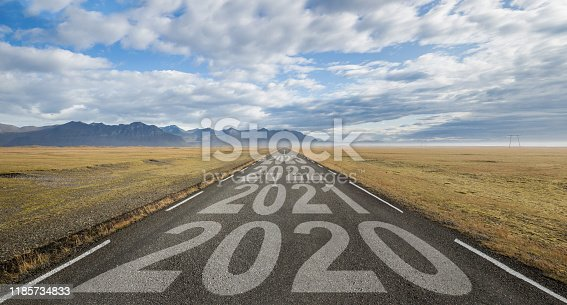 istock Long Road in Iceland with date in a row 1185734833
